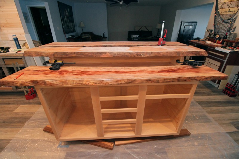 Live edge mystery wood kitchen island for Live edge kitchen island